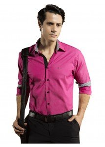 camisa slim rosa buon giorno flavio