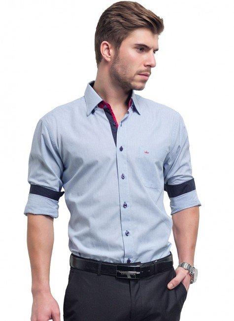 camisa social masculina azul buon giorno rafael