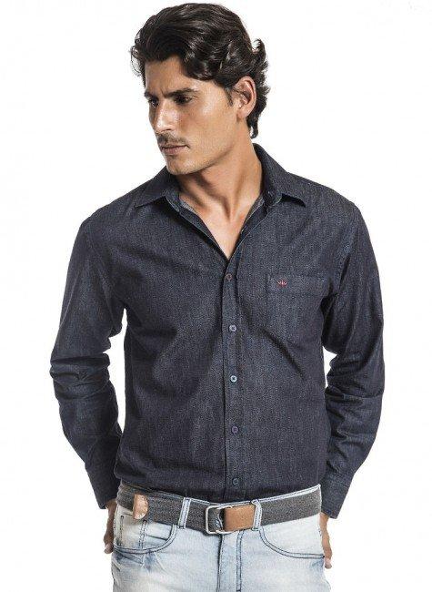 camisa jeans escura buon giorno emerson