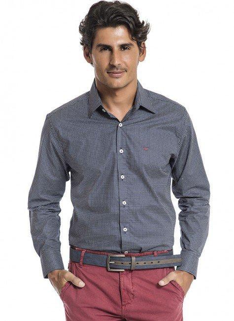 camisa estampada azul buon giorno goncalo