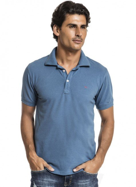 camisa polo masculina azul buon giorno clovis