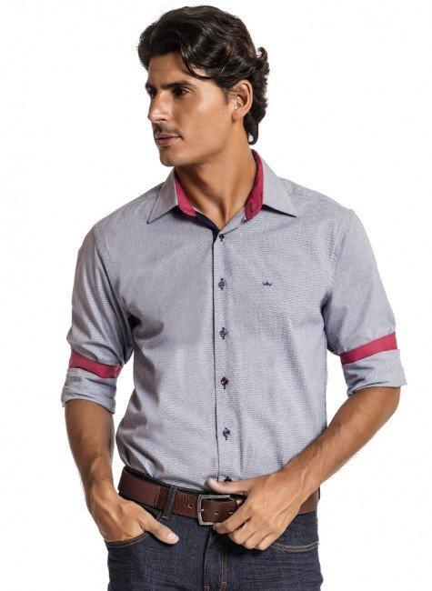 camisa masculina manga longa xadrez leo
