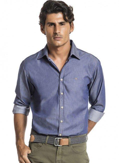 camisa masculina jeans0azul buon giorno