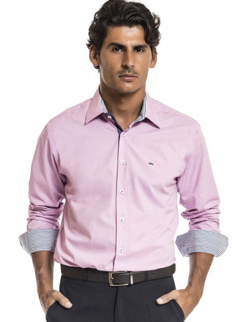 camisa rosa masculina slim buon giorno cesar