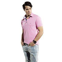 camisa gola polo rosa masculina junior