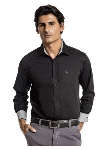 camisa social preta manga longa masculina