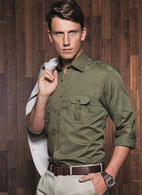 camisa slim verde militar buon giorno giuseppe