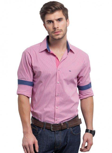 camisa listrada masculina com elastano pietro