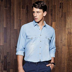 camisa jeans azul masculina buon giorno giovanni