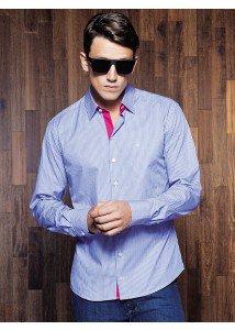 camisa slim fit azul buon giorno berillo