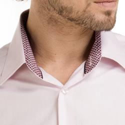 camisa masculina francisco rosa claro colarinho estampa detalhe