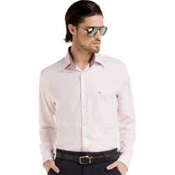 camisa masculina francisco rosa claro frente detalhe