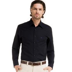 camisa buon giorno fabian maquinatado preto azul detalhe look