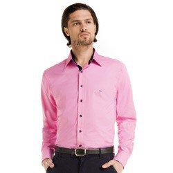 detalhe camisa masculina social reuniao rosa jean look