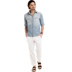 detalhe camisa jeans dione tecido look completo