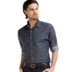 detalhe camisa jeans escuro masculino buon giorno lauro look