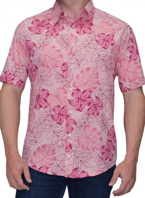 camisa floral vermelha hibiscos hawaii buongiorno pipeline