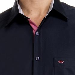 detalhe camisa marinho masculina manga curta bolso
