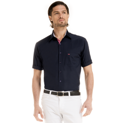 detalhe camisa marinho masculina manga curta tecido modelagem