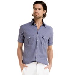 detalhe camisa azul manga curta buon giorno alex look