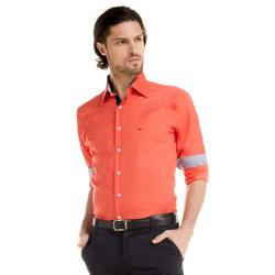 detalhe camisa laranja masculino buon giorno jaison colarinho look