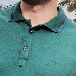 detalhe polo masculina verde militar buon giorno claudemir gola