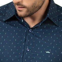 camisa social masculina marinho estampada manga longa detalhes