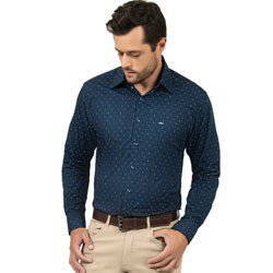 camisa social masculina marinho estampada manga longa detalhes look