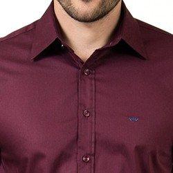 detalhe camisa masculina bordo buon giorno osmar manga longa social acabamentos