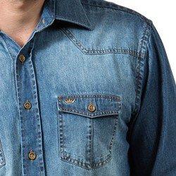 detalhe camisa jeans masculina buon giorno alexander despojada bolso