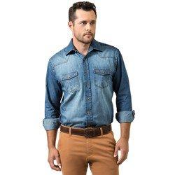 detalhe camisa jeans masculina buon giorno alexander despojada look