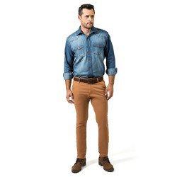detalhe camisa jeans masculina buon giorno alexander despojada look completo