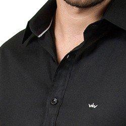 camisa social preta masculina manga longa fio egipcio buon giorno emanuel