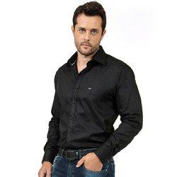 camisa social preta masculina manga longa fio egipcio buon giorno emanuel look