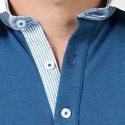 camisa polo azul jeans buon giorno ricardo gola tecido listado