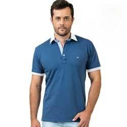 camisa polo azul jeans buon giorno ricardo gola tecido listado look comprar
